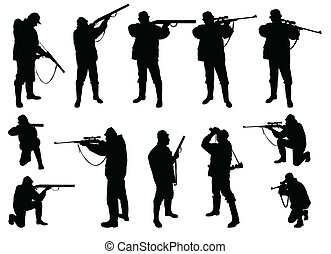 chasseurs, silhouettes