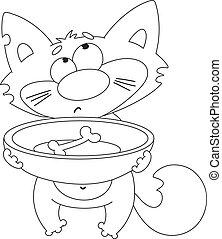 chat, affamé, esquissé