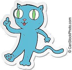 chat, autocollant, dessin animé, idée