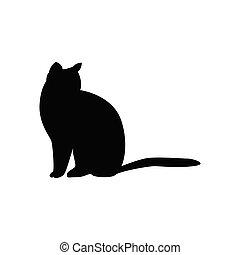 chat, blanc, silhouette, arrière-plan., isolé, noir