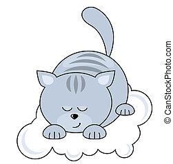 chat bleu, joli, petit, dormir, nuage