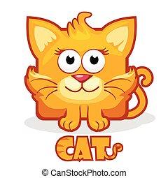 chat, carrée, mignon, dessin animé