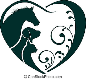 chat, coeur, amour, cheval, logo, chien