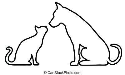 chat, composition, chien