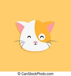 chat, dessin animé, figure