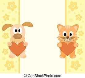 chat, dessin animé, fond, chien