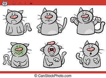chat, ensemble, dessin animé, illustration, émotions