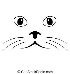 chat, figure, yeux, simple, croquis, moustache, vecteur, figure, nez
