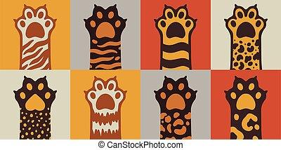 chat, icon.hand, chouchou, plat, carrée, dessiné, animal, style., griffonnage, cute.kitten, patte, dessin animé