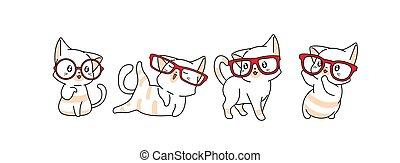 chat, illustration, dessin animé, mignon, caractères