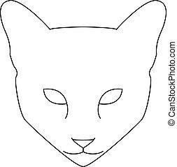 chat, illustration, face., noir, sketch., blanc, vecteur