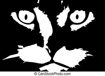 chat, illustration, fond, vecteur