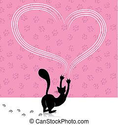 chat, jour, coeur, grattement, valentin