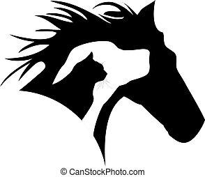 chat, logo, chien, cheval