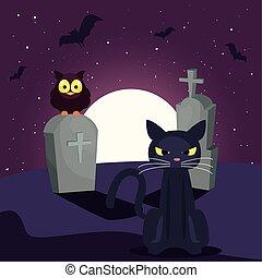 chat, lune, scène, noir, cimetière