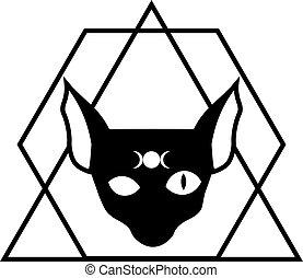 chat, noir, sien, phases, silhouette, sphynx, front, symbole, lune