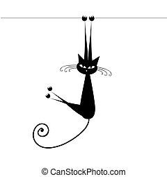chat, noir, ton, conception, rigolote, silhouette