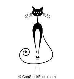 chat, noir, ton, conception, silhouette