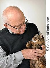 chat, personne âgée homme