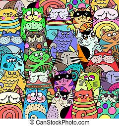 chat, rigolote, bondé, bande, rue, griffonnage