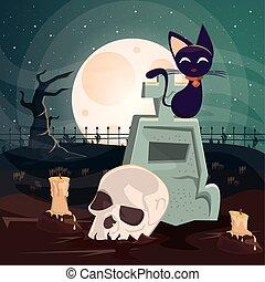 chat, scène, crâne, cimetière, halloween, sombre