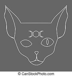 chat, sien, phases, sphynx, art, front, symbole, lune, ligne
