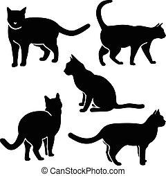 chat, silhouette, vecteur
