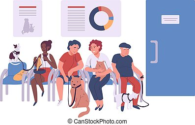 chat, vétérinaire, malade, gens, différent, perroquet, asseoir, réception, illustration, vecteur, animaux familiers, virage, dessin animé, chien