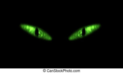 chat, yeux, animation, blinking., vert