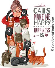 chats, dame, illustration
