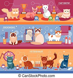 chats, ensemble, bannière