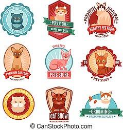 chats, ensemble, emblème