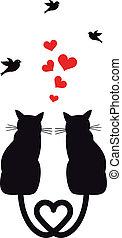 chats, oiseaux, vecteur, cœurs