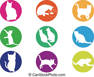 chats, silhouette, illustration, colorf