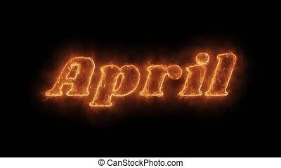 chaud, avril, brûler, loop., réaliste, mot, brûlé, flamme, animé