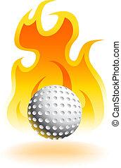 chaud, balle, golf