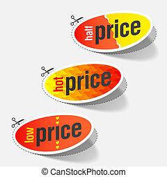 chaud, bas, étiquettes, coût, moitié
