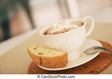 chaud, biscotti, chocolat