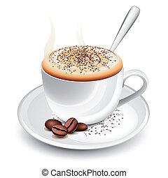 chaud, cappuccino, tasse