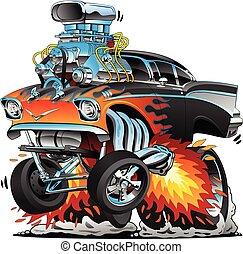 chaud, chrome, vecteur, courses, classique, illustration, rouges, gasser, tige, traîner, flammes, dessin animé, muscle, moteur, lotissements, années cinquante, grand, style, voiture