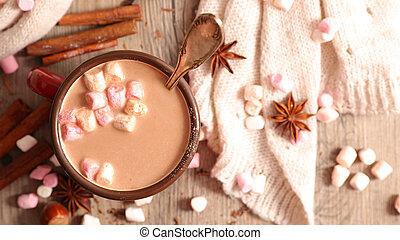 chaud, guimauve, chocolat