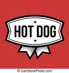 chaud, logo, chien, vendange