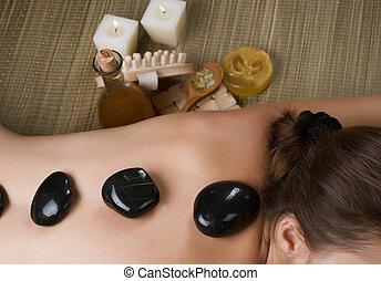 chaud, spa., pierre, masage