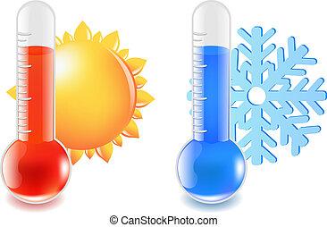 chaud, thermomètre, froid, température