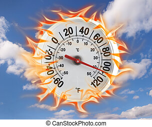 chaud, thermomètre