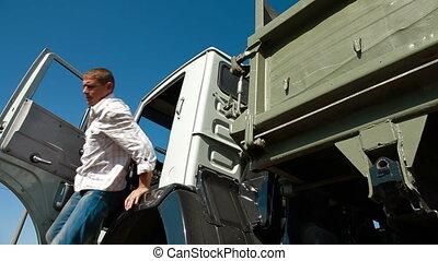 chauffeur, cabine camion, partir
