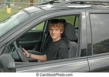 chauffeur, suv, adolescent