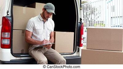 chauffeur, vérification, sien, livraison, liste