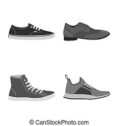 chaussure, ensemble, illustration., illustration, bitmap, chaussures, pied, logo., stockage