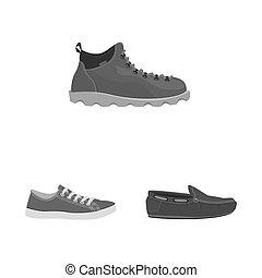 chaussure, ensemble, stock., illustration, bitmap, chaussures, pied, logo., icône